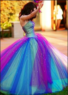 e2ac9e949d85d Rainbow Tulle Wedding Dress Colorful Prom Pageant Dress Floor Length Ball  Gown Cheap Formal Dress Princess