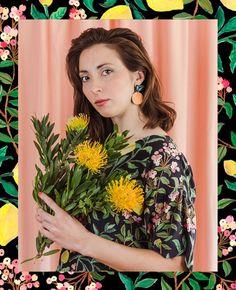Togetherness Design / Esther Sandler - Melbourne based textile designer and illustrator  Fiore Collection ~~ Backyard Harvest Silk Blouse inspired by Lilly PIlly and Lemons