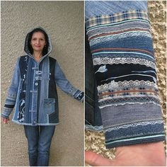 Hooded Jacket Upcycled Clothing by EcoClo Denim Collection image 2 Lined Denim Jacket, Estilo Jeans, Denim Ideas, Denim Crafts, Recycled Denim, Old Jeans, Denim Fabric, Denim Patchwork, Unique Outfits