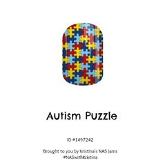 Autism Awareness nail wraps #jamberry #nailwraps #nails #nailart #nailartstudio #autism #awareness #puzzle