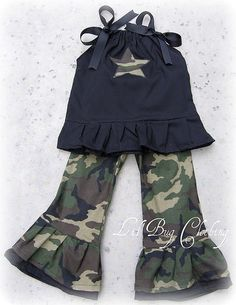Custom Boutique Camouflage outfit army size 12 18 24 2t 3t 4t 5t girl. $39.99, via Etsy.