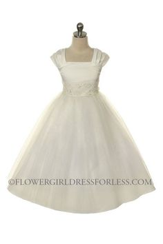 not a plus size  Flower Girl Dress Style 186- Short Sleeved Satin and Tulle Dress $49.99