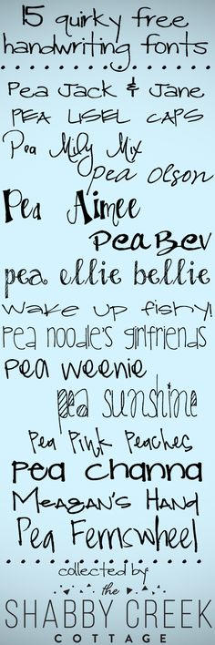 15 free fun and quirky #handwriting #fonts from Gina at The Shabby Creek Cottage