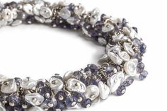 PURPLE MEMORIES - Cluster bracelet with Keshi Pearls and Iolite in Sterling Silver on Etsy, $169.00
