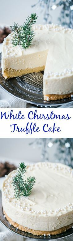 White Chocolate Truffle Cake that will become the talk of the table at any dinner party! White Chocolate Truffle Cake that will become the talk of the table at any dinner party! Holiday Baking, Christmas Desserts, Christmas Cakes, Christmas Cheesecake, Christmas Treats, Christmas Goodies, Christmas Dinner Dessert Ideas, Christmas Tree Brownies, Dinner Party Desserts