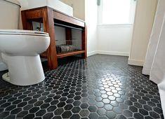 Small, Inexpensive Bath Reveal {beadboard, farmhouse, black hex tile floor, sherwin williams argos, diy vanity}