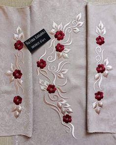 Embroidery On Kurtis, Hand Embroidery Dress, Rose Embroidery, Embroidery Fashion, Embroidery Kits, Hand Embroidery Patterns Flowers, Border Embroidery Designs, Kurti Embroidery Design, Machine Embroidery Designs