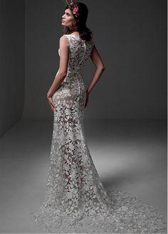 CompriChic Lace & Satin Scoop scollo Abiti da sposa Guaina See-through di sconto sul Dressilyme.com