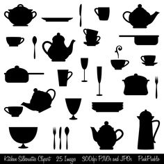 Kitchen Silhouettes Clipart Clip Art, Cooking Clipart Clip Art - Commercial and Personal Use by PinkPueblo on Etsy