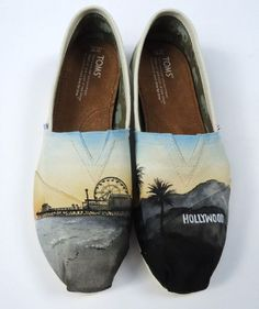 LA state of mind Toms Custom Painted Shoes, Hand Painted Shoes, Custom Shoes, Painted Vans, Custom Converse, Cheap Toms Shoes, Toms Shoes Wedges, Toms Shoes Outlet, Shoe Company