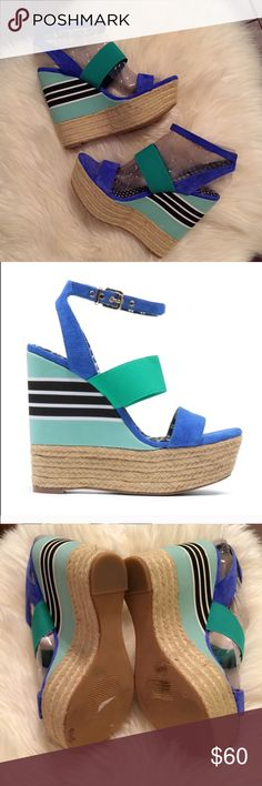 Jessica Simpson Blue & Green Cosset Wedges 8.5 Great condition! Worn once!! Very colorful!! Size 8.5. 5.5in high with 1.5in platform! If you have any questions please feel free to ask! Thanks!! Jessica Simpson Shoes Wedges