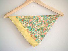 Vintage Yellow Floral Patterned Silk Handkerchief / Bandana.