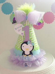 Penguin Winter Onederland Birthday Party Hat -Lime Green, Aqua and Lavender- Personalized