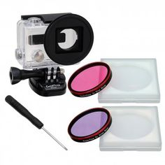 Fotodiox Pro WonderPana Go H3+ Underwater Kit - GoTough Filter Adapter System with Two Water Correction (Pink and Purple) Filters f/ GoPro HERO3+ Underwater Housing Case *Not for HERO3*