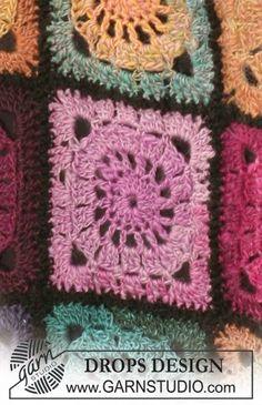 "Bohemian Oasis - Crochet DROPS blanket in ""Delight"" and ""Fabel"". - Free pattern by DROPS Design"