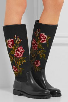 Saint Laurent | Leather and embroidered canvas rain boots | NET-A-PORTER.COM