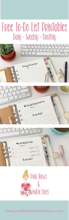 To-Do List Roundup: Free Planner Printables - Pink Bows & Twinkle Toes - Daily Weekly Monthly To Do Lists - Free instant PDF digital download - productivity planning printables