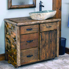 25 Decorative Rustic Storage Projects for Your Bathroom İdeas and Models - Pinkish Fashion, Life and Decor İn Your Life Industrial Bathroom Vanity, Black Vanity Bathroom, Rustic Bathroom Vanities, Bathroom Red, Bathroom Vanity Cabinets, Rustic Bathrooms, Simple Bathroom, Red Bathrooms, Natural Bathroom