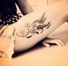 Petit tatouage d'attrape-rêves sur la cuisse dans Trouver une idée de tatouage d'attrape-rêve et plume indienne parmi 20 magnifiques exemples