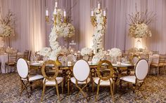 All White & Gold Luxury Wedding Inspiration All White Wedding, Luxury Wedding, Table Settings, Wedding Inspiration, Chandelier, White Gold, Ceiling Lights, Table Decorations, Home Decor