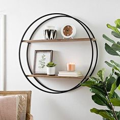 Revolutionize your storage space with our Metal Circle Double Wood Plank Wall Shelf. The round hanging design will find a perfect home in your rustic decor. Wood Plank Shelves, Wood Plank Walls, Metal Walls, Wood Planks, Modern Farmhouse Decor, Rustic Decor, Circle Wall Shelf, Wall Shelf Decor, Bathroom Wall Shelves