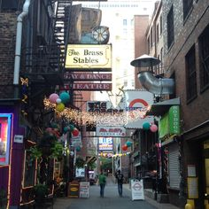 Printer's Alley, Nashville TN. Our favorite dive bar is there, Bourbon Street Blues & Boogie Bar.
