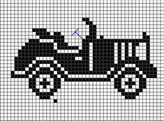 antique car chart cross-stitch or filet crochet Crochet Car, Pixel Crochet, Thread Crochet, Cross Stitch Music, Mini Cross Stitch, Knitting Charts, Knitting Patterns, Crochet Patterns, Cross Stitch Designs