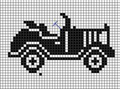 antique car chart cross-stitch or filet crochet Cross Stitch Music, Mini Cross Stitch, Cross Stitch Cards, Cross Stitching, Cross Stitch Embroidery, Crochet Car, Pixel Crochet, Thread Crochet, Cross Stitch Designs