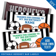 Paper goods and DIY printables for parties and holidays Sports Birthday, Sports Party, 3rd Birthday, Birthday Parties, Projects For Kids, Diy Projects, Hershey Bar, Diy Organisation, Star Party