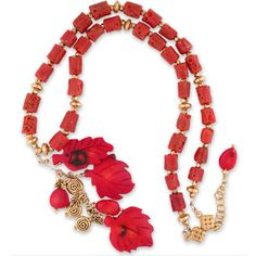 """Mythological: A dramatic 3"""" drop of carved coral leaves & gold-tone charms on a wire-wrapped necklace of sponge coral tubes. expandable 22K vermeil clasp with apple coral dangle. #glimmerdream #necklace #jewelry #coral #22Kvermiel #statement"""
