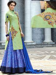 Plushy Pista Green and Royal Blue Lehenga Suit - https://www.ethanica.com/products/plushy-pista-green-and-royal-blue-lehenga-suit