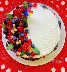 TORT ANIVERSAR CU FRUCTE DE PADURE - Flaveur Fresh Fruit Cake, Food And Drink, Birthday Cake, Cooking, Desserts, Cakes, Random, Pies, Bebe
