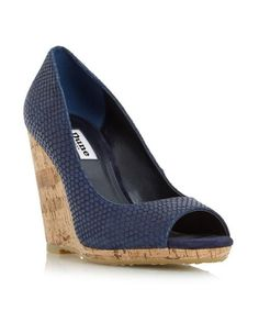 £50 - DUNE - Put a spring into your step with this timeless wedge court shoe. Featuring a peep toe, cork effect wedge heel and Dune branded hardware. Sport a summery look by teaming it with a colourful halter neck dress.