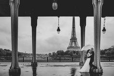 Wedding photos under Bir Hakeim Bridge in Paris France