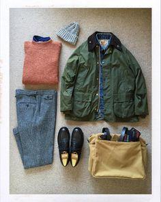 "thedailyobsessionsme: "" Today's Outfit. #Barbour #Bedale Oiled Jacket 60's #VintageLevis #BigE 71205 Denim Jacket #PeterBlance Shaggy Dog Sweater #GitmanVintage Indigo Denim BD-Shirt #Highland2000..."