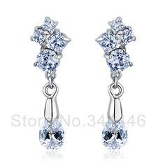 free ship Zircon earrings popular Korean version of the exaggerated retro Austrian crystal earrings $7.60