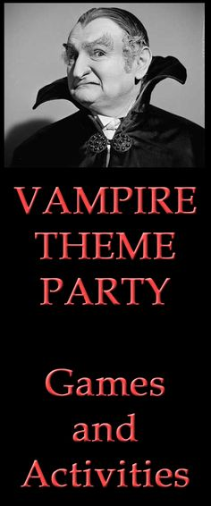 Vampire theme party games and activities Vampire Theme Party, Vampire Halloween Party, Halloween Party Themes, Halloween Dinner, Birthday Party Themes, 10 Birthday, Theme Parties, Halloween 2017, Easy Halloween