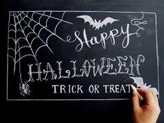 黒板とチョークで楽しむ大人ハロウィーン(DIY:chalkart:Halloween
