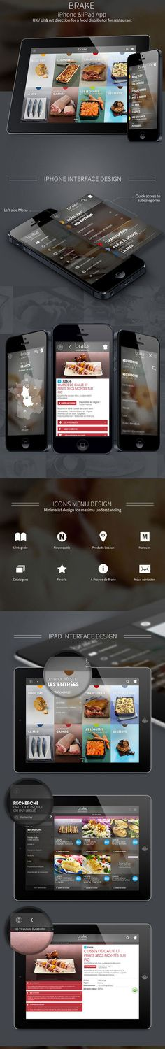Nice visual categorization Clean, grid based iPhone & iPad interface that could be the basis for many other uses. Mobile Ui Design, App Ui Design, User Interface Design, Menu Design, Restaurant App, Restaurant Supply, Tablet Ui, Mobile App Ui, Ui Design Inspiration