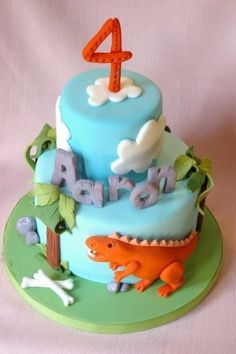 Dinosaur Cake -- love the spacing of the cakes and the way it opens up the letters!!