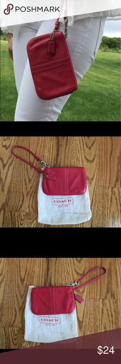 Hot Pink Coach Wristlet Genuine hot pink leather - perfect for on the go - fair condition - with little use - silver hardware - dust bag included - smoke free home - no trades Coach Bags Clutches & Wristlets