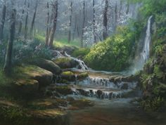 """""""Misty Forest Creek"""" Oil Painting by Kevin Hill    Watch short oil painting lessons on YouTube: KevinOilPainting  Visit my website: www.paintwithkevin.com  Find me on Facebook: Kevin Hill  Follow me on Twitter: @paintwithkevin"""