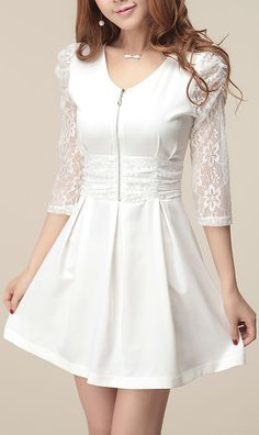 Three quarter sleeve lace-merging base dress White