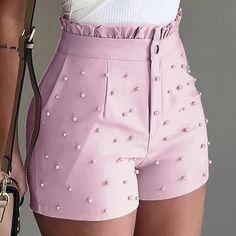 Women's Cute Soild Color Shorts Bead Decoration High Waist Female Caual Summer Ladies Shorts For Women Ruffle Shorts, Pink Shorts, Como Fazer Short, Short Outfits, Cute Outfits, Fashion Pants, Fashion Outfits, Style Fashion, Black High Waisted Shorts