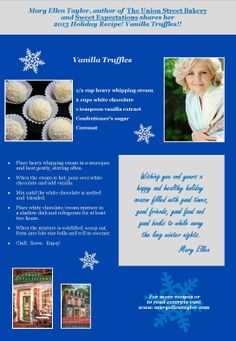 Last up for the #Holidays from The Union Street Bakery, Vanilla Truffles! Possible last minute gifts? Here's the #recipe.