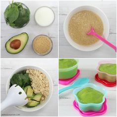 A delicious and nutritious baby food puree recipe made with spinach, avocado and cous cous rezepte couscous rezepte mittagessen baby 1 jahr baby 10 monate baby 11 monate baby led weaning Baby Puree Recipes, Pureed Food Recipes, Baby Food Recipes, Baby Food Recipe With Spinach, 7 Month Old Baby Food, 7 Months Baby Food, Avocado Baby Food, Healthy Baby Food, Healthy Fats