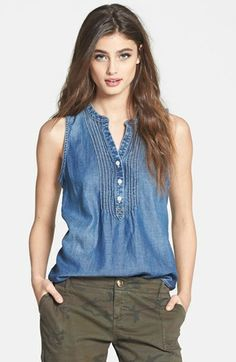 Lucky Brand Pintuck Sleeveless Chambray Top available at #Nordstrom