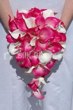 Modern Artificial Bridal Wedding Bouquet with Fuchsia Pink & White Calla Lilies