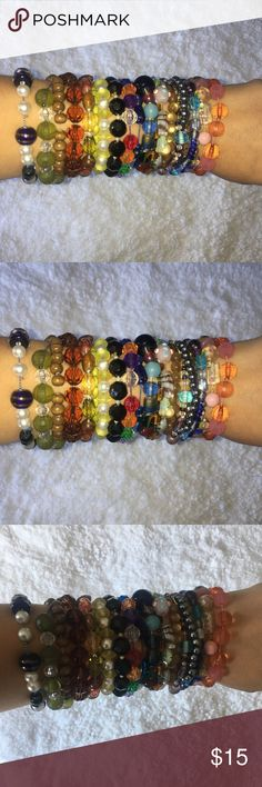 CHOOSE YOUR BRACELETS I've got costume jewelry bracelets in bulk! Feel free to comment on this listing which ones you like and I'll make a new listing for you with the individual prices! If you're wanting certain colors, let me know and I can try and find you what you're looking for from my jewelry inventory!  You may also buy this post for all bracelets in picture! Comment for individual prices Jewelry Bracelets