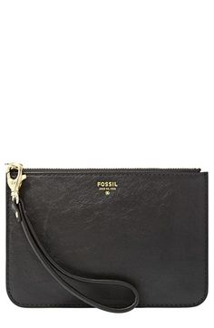 $45, Black Leather Clutch: Fossil Sydney Zip Pouch Black One Size. Sold by Nordstrom. Click for more info: http://lookastic.com/women/shop_items/56824/redirect